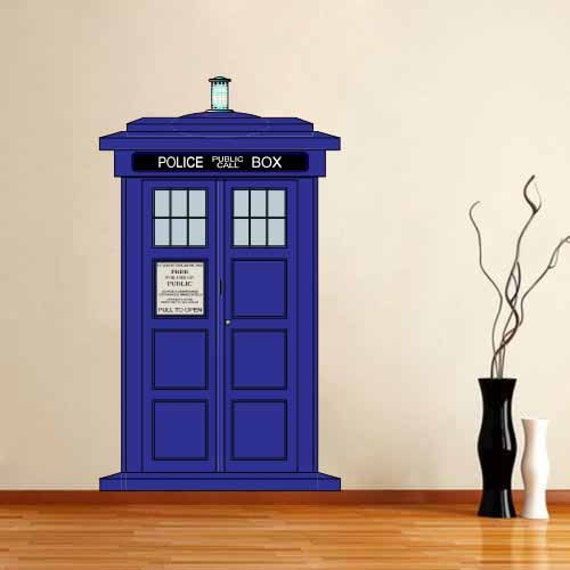 full color wall decal mural sticker doctor who tardis police. Black Bedroom Furniture Sets. Home Design Ideas