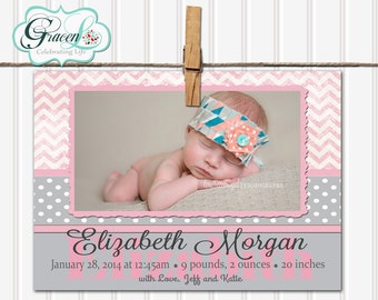 Baby Announcement, Girl Baby Announcement, Pink Baby Announcement, Unique Baby Announcement, Personalized Baby Announcement, Announcement