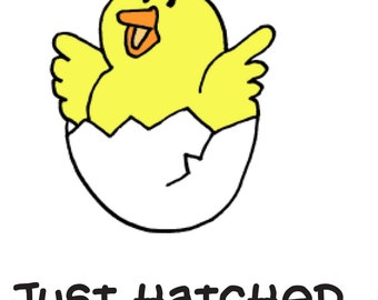 Just Hatched !! Funny Onesie / Romper Great baby shower gift -