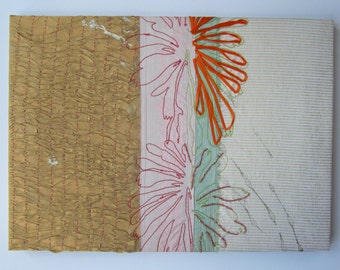 Embroidered silk textile canvas picture with ribbon