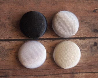 Solid neutral color satin fabric covered buttons (size 60, 40, 32, 20, or 18)