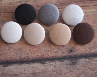 Solid neutral color fabric covered buttons (size 60, 40, 32, 20, or 18)