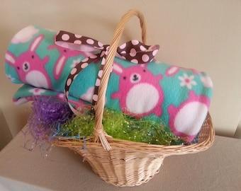 Easter bunny girl fleece blanket