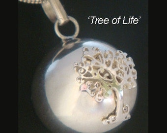 Tree of Life Necklace Chime Ball Pendant with a 925 Sterling Silver Tree of Life Pendant set on a 925 Sterling Silver Harmony Ball TOLHBP002