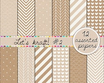 SALE Digital Kraft papers Digital cardboard papers patterned paper scrapbooking kit papers pack 12x12 neutrals, light and dark