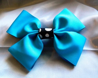 Teal with Black Polka-dot Center Boutique Bow