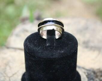 enamel sterling silver ring // black // special design , unique enamel ring