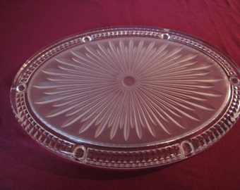 Oval Glass Platter - Starbust design  - French Vintage circa 1950s