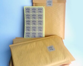 "Set of 15 Bubble Mailers with ""Please Handle With Care"" Kraft Labels in 6 1/2"" x  9"" paper/ Bubble Mailers/Padded Envelope"