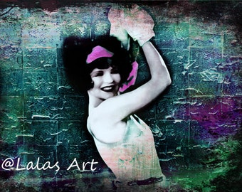 Clara Bow Vintage style painting Flapper Girl Kick it Art deco 1920s Silent movie star Retro art Wall art Boxing woman Mix media Chabby Chic