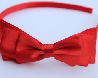 Red hair bow headbands, red satin bow headbands, red headbands, kids bow headbands, red hair accessory, girls hair bows red satin bow