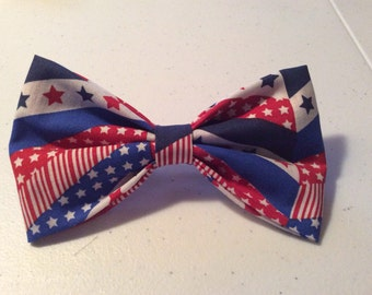 Patriotic Herringbone Hair Bow