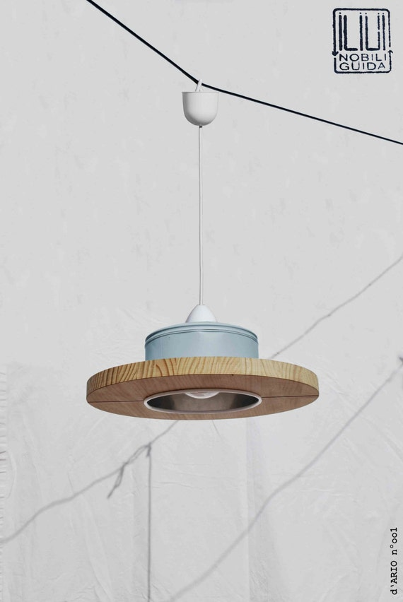 Hanging / Ceiling lamp / Pendant light,  pastel sky blue color.... ECO - friendly: recyled from big coffe can !!...perfect for baby room!