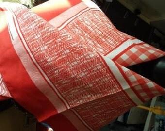 Scarf Cheery and bright tangerine retro orange scarf with white check design by Monique Martin 67cm square