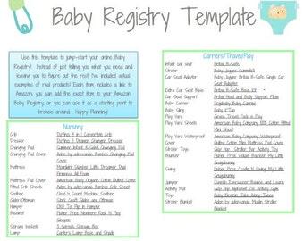 PRINTABLE - Baby Registry Template