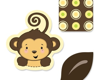 24 pc. Small Monkey Shaped Paper Cut Outs - Baby Shower and Birthday Die Cut Party Decoration Kit