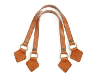 """20"""" Genuine Leather Purse Handles with Bronze Style Flower (Camel)"""
