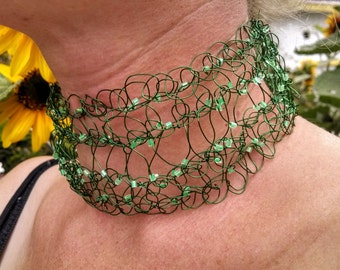 Green crocheted wire necklace