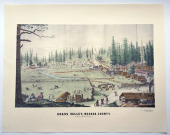 Vintage Grass Valley, California Poster (early depiction) - Printed Lithograph in 1980 by Harold Berliner