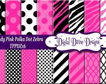 Trendy Pink Polka Dot Zebra Digital Scrapbooking  Paper Set - Instant Download
