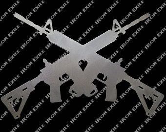 Crossed AR 15s M16s Guns Metal Art
