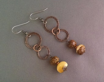 Amber and brass Earrings