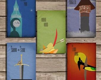 All 5 Disney posters Pixar Disney poster movie poster art print disney poster movie art fan art pixar movie poster
