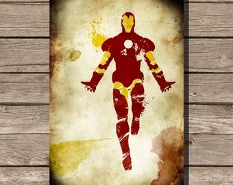 Ironman splatter print movie poster art print Tony Stark comic book art fan art