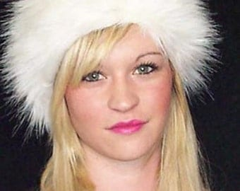 Long Haired White Fur Headband made in Luxurious 65mm Faux Fur