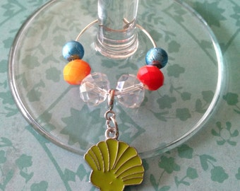 Shell wine glass charm ring