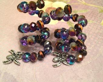 Set of Spiral Halloween spider wine glass charm rings~Halloween wine glass charm rings~spider charm rings~halloween wine accessories