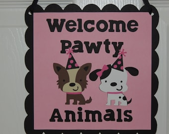 Girly dog party door sign. Welcome Pawty Animals. Pink and black dog party. Puppy party decorations.