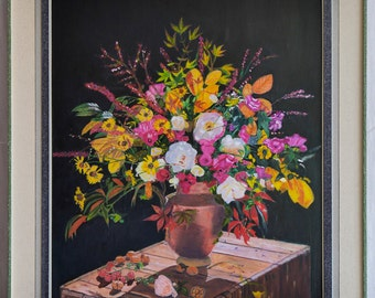 Bouquet of flowers, Oilpainting with frame