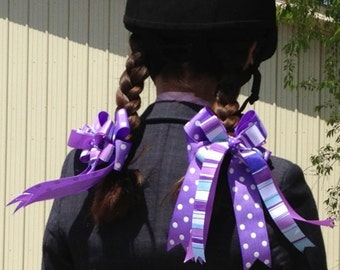 Horse Show Bows/purple equestrian clothing/Ready2Mail with elastic loops