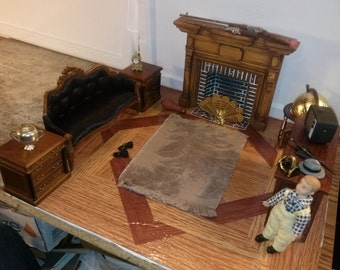 High Quality Dollhouse Furniture living room set lot Victorian couch Braxton Payne Colonial Fireplace boy doll tv globe JBM end tables 1/12
