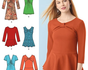 Simplicity Sewing Pattern 1539 Misses' Knit Tunic or Top and Peplum Tops