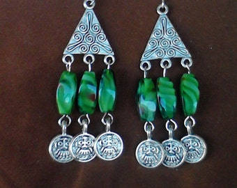 Amazon silver beaded dangle earrings