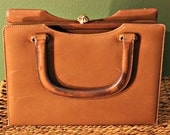 Vintage 1960s Manon Tan Leather Handbag