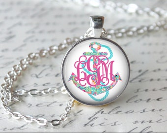 Monogram Anchor Lilly Pulitzer Inspired Glass Pendant Necklace