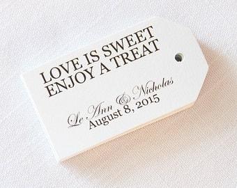Love is Sweet Enjoy a Treat Wedding Tags, Custom Wedding Hang Tags  (MLT-001)