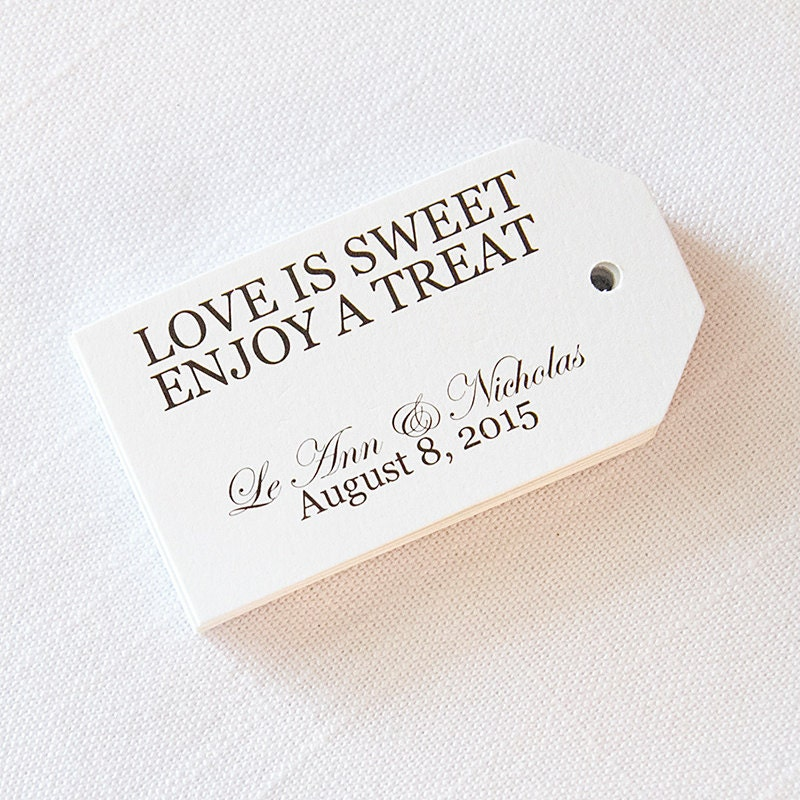 Wedding Favor Tags Love is Sweet Have a Treat Custom Wedding