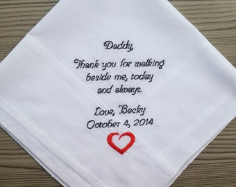 Father of The Bride Handkerchief. Wedding handkerchief, Thank you for walking beside me! Hankie for father/step father. To dad/step dad gift