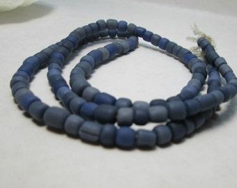 Blue Glass Bead Indonesian Recycled Glass Medium Blue 4-6mm Ethnic Boho Tribal Bead