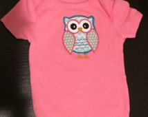SALE 40% OFF-Cute Baby Girl Clothes-Baby Girl Outfit- Pink Owl Bodysuit- Pink Baby Clothing-Toddler Girl Clothing-Baby shirt-Owl Shirt-