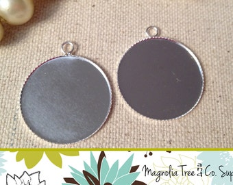 Silver Pendant Trays, 25 pcs, 1 Inch, 25mm, Photo Charms, Thin Bezel Cabochon, Blank Tray, Round, Sawtooth Edge (BP2500)