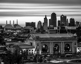 Kansas City Skyline with Union Station,Power & Light Building, Bartle Hall Convention Center, Fine Art Photography by Pitts Photography