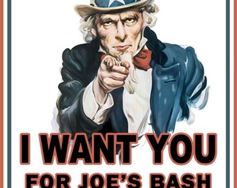 "Personalized ""Uncle Sam"" Bachelor Party Invitation with your own wording. Bachelor Party Invite; Party Invitation; Uncle Sam"