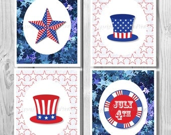 July Fourth, 4th July Decor, July 4th Decor, July 4th Decoration, Patriotic Decor, Patriotic Printable, 4th of July Digital Download 0156