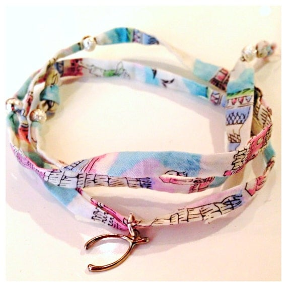 Liberty of London Fabric Wrap Bracelet with Charm Choose your Fabric!!