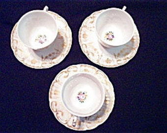 Vintage Set of 3 Vista Alegre for Mottahedeh Hand Painted White and Gold Cup and Saucer Sets